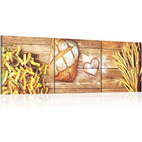 murando Acrylglasbild Pasta 120x40 cm 1 Teile Wandbild auf Acryl Glas Bilder Kunstdruck Moderne Wanddekoration - Küche Brot Holzoptik 030207-33