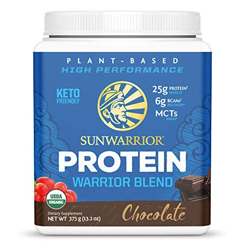 Sunwarrior - Warrior Blend - Plant Based Raw Vegan Pea Protein Powder with Hemp Protein and MCTs from Coconut - Chocolate - 375g