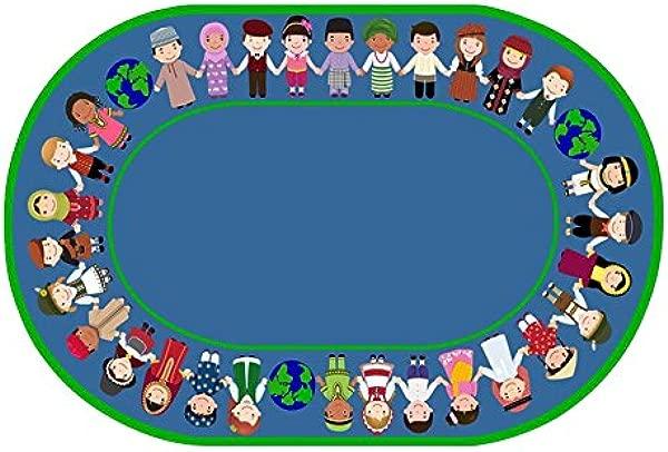 Childcraft 世界在我们手中地毯 6x9 英尺椭圆形绿色