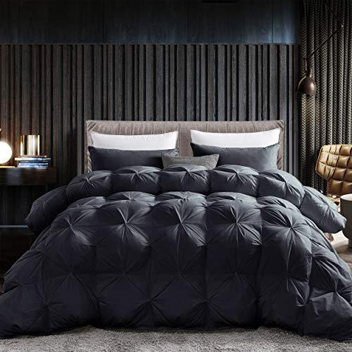 Grandeur Linens Luxurious Goose Down Comforter Duvet Insert, Premium Pinch Pleat Design, 1200 Thread Count 100% Egyptian Cotton, 750+ Fill Power, 70 oz Fill Weight (King - Black)