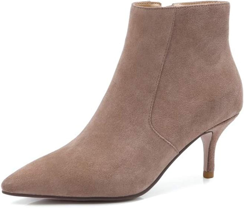 YAN damen ' S Ankle Stiefel Suede Fashion Pointed Stiefelies Side Zipper Stiletto Casual Martin Stiefel Bare Stiefel Dress schuhe,B,36