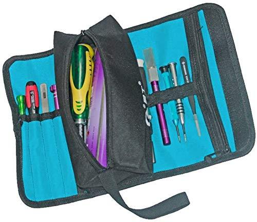 Soporte de almacenamiento de herramientas de electricista profesional plegable Bolsa de rollo Organizador práctico Bolsa de herramientas pequeña Bolso de lona con cremallera