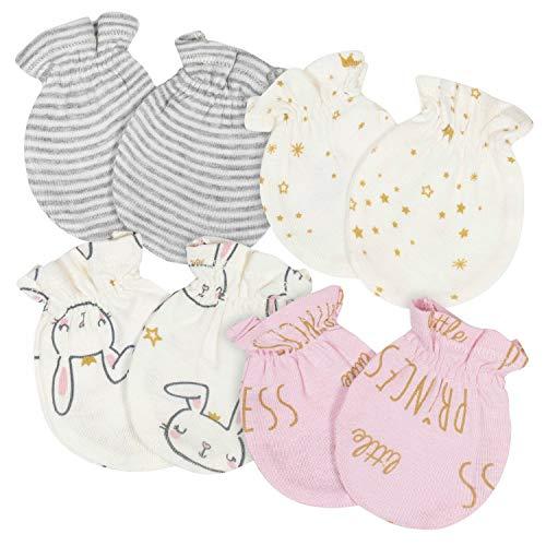 Gerber Baby Girls' 4-Pair Mittens, Princess/Bunny Pink, 0-3 Months