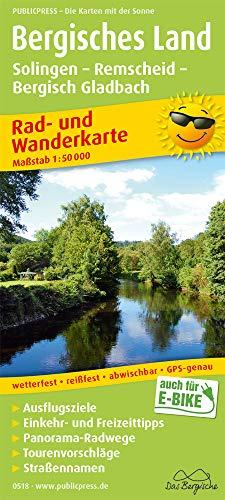 Bergisches Land, Solingen - Remscheid - Bergisch Gladbach: Rad- und Wanderkarte mit Ausflugszielen, Einkehr- & Freizeittipps, wetterfest, reissfest, ... 1:50000 (Rad- und Wanderkarte / RuWK)