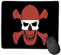 Mouse Pad Pirate Flag Combined Latvian Black Image Jolly Roger Crossbones Colors Rectangle Rubber Mousepad 11.81 X 9.84 Inch