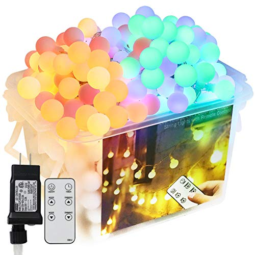 Valentine's Day Decor Led String Lights, 65.67ft Led Globe Color Changing Tree Lights 8 Modes Warm White to Multi Color Lights, Connectable 24V Safe Adapter Remote String for Xmas Party