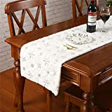 Faux Fur Christmas Table Runner with Silver Sequin Snowflakes, White Super Soft Thick Luxu...