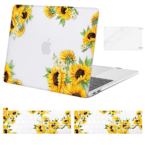 MOSISO Compatible with MacBook Pro 13 inch Case 2016-2020 Release A2338 M1 A2289 A2251 A2159 A1989 A1706 A1708, Plastic Sunflower Hard Shell Case&Keyboard Cover&Screen Protector, Transparent