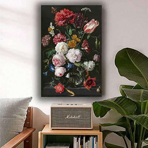 KWzEQ Leinwanddrucke Klassisches Blumenplakat und dekorative Bilder für Wohnkultur im Wohnzimmer30x45cmRahmenlose Malerei