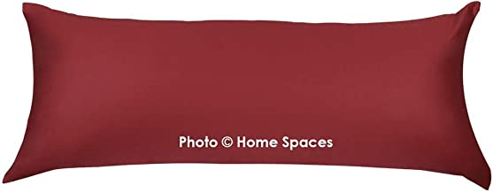 Home Spaces Body Pillow Cover Case Pillowcase, 100% Cotton, 300 Thread Count with Zipper Closure (21 x 54 Inches,Set of 1) (21 x 54 Inches, Maroon)