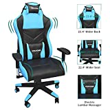 YITAHOME Gaming Chair Racing Office Computer Game Chair Ergonomic High Back PU Leather Desk Chair with Massage Lumbar Support, Deluxe Light Blue