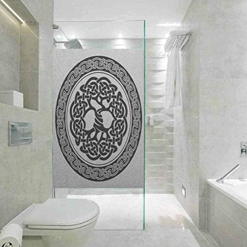 Static Cling Stained Glass Film Stained Glass Window Sticker, Celtic Native Celtic Tree of Life Figure Ireland E, Non Adhesive No Residue Easy Trim Films for Sun Blocking, W23.6xH35.4 Inch