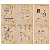Vintage Pharmacy Patent Poster Prints, Set of 6 (8x10) Unframed Photos, Wall Art Decor Gifts Under 20 for Home, Office, Garage, College, Man Cave, Student, Teacher, Doctor, Nurse, Science & ER Fan