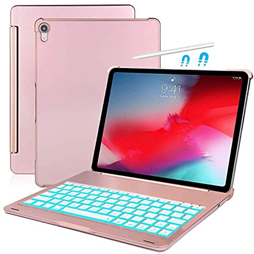 Aidashine IPad Pro 11 hoesje met toetsenbord, hard beschermhoesje met 7 kleuren toetsenbord met achtergrondverlichting, automatische wake/slaapfunctie, Rosegold