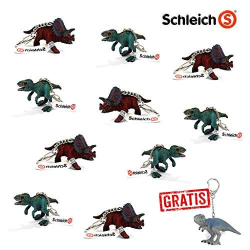 Spar-Set 170289 - Schleich - 10 Dinosaurier Schlüsselanhänger, 2 Verschiedene Spezies + Gratis T-Rex Anhänger