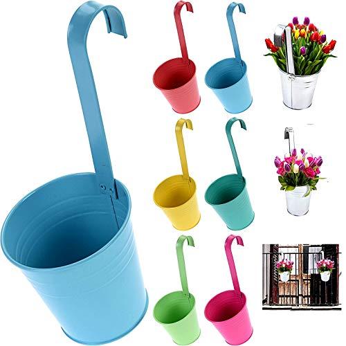 esto24® 6er Set Hängetopf Pflanztopf Übertopf mit Haken Bunt Zink Blumentopf Vase Balkon Garten