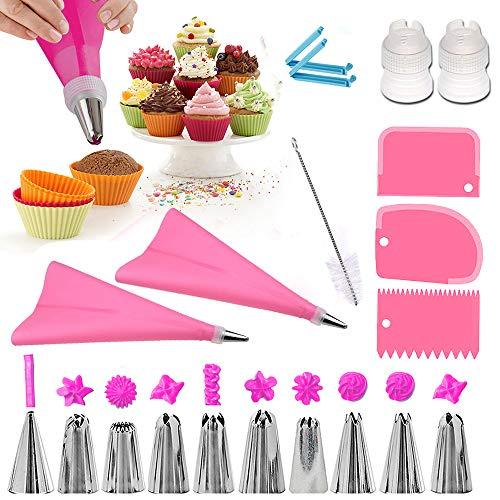 O-Kinee Boquillas Rusas de Reposteria,10pcs Boquillas para Manga pastelera, Set Decoración de Cupcakes y Tartas, Incluir 10 Boquillas, 2 Acopladores, 2 Bolsa de Silicona, Clips, Cepillos de Limpieza