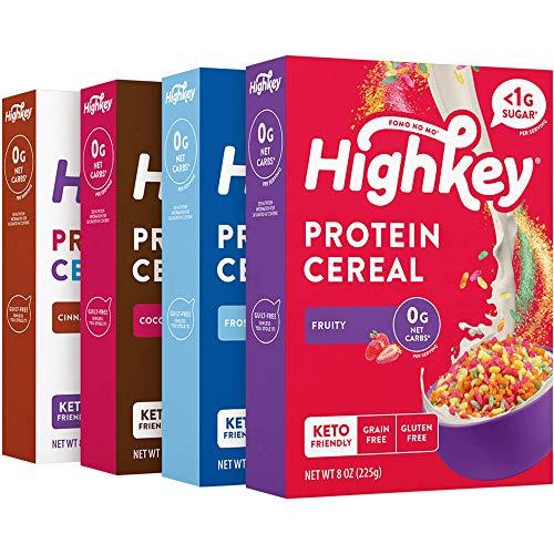 HighKey Protein Snacks - Keto Breakfast Cereal - 0 Net carb & Zero Sugar, Grain & Gluten Free Cereals Snack - Non GMO Food - Paleo, Diabetic, Ketogenic Flakes - Healthy Grocery Foods - Variety 4 Pk