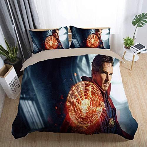 Evvaceo Juego de cama infantil de 3 piezas, funda de edredón Cool Movie Doctor Character 135 cm x 200 cm con 2 fundas de almohada 3D (individual)