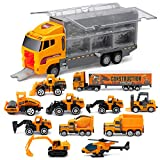 11 in 1 Die-Cast Trucks Engineering Construction Car Toys Gifts Set - Mini Play Vehicles Car Toy in Carrier...