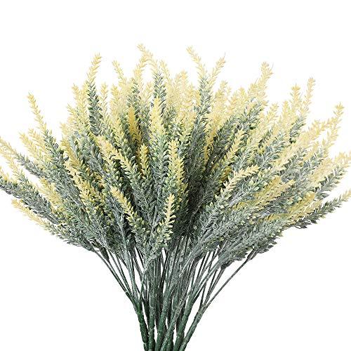 Floweroyal Lavendelblüten Künstliche 8 Stück Gefälschte Pflanzen für Hochzeitsstrauß Tischdekoration Zuhause Küche Garten Bauernhaus Dekor (Gelb)