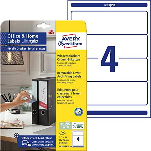 AVERY Zweckform L4761REV-10 Ordnerrücken Etiketten (40 Rückenschilder mit ultragrip, 61x192 mm auf A4, wiederablösbar, breit/kurz, selbstklebend, blickdicht, ideal fürs HomeOffice) 10 Blatt, weiß