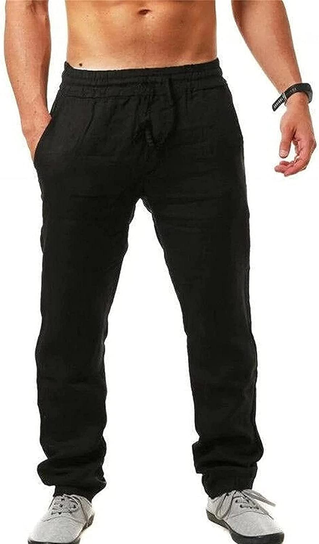 Blivener Mens Casual Linen Pants,Summer Casual Lightweight Elastic Waist Drawstring Long Pants