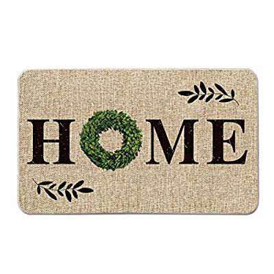 Artoid Mode Home Quote Boxwood Wreath Decorative Doormat, Holiday Farmhouse Low-Profile Floor Mat Switch Mat for Indoor Outdoor 17 x 29 Inch