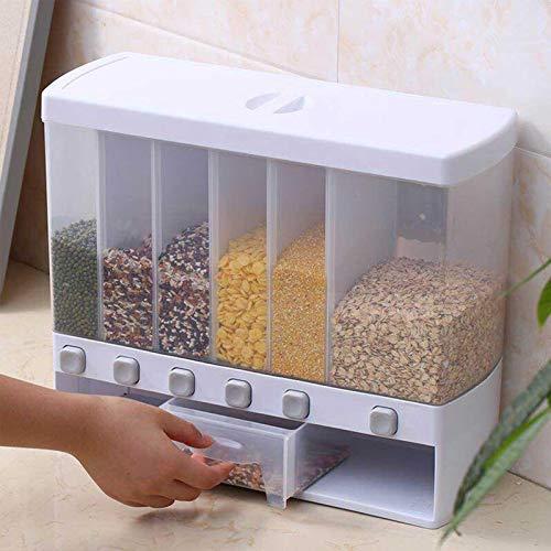 Seasaleshop Müslispender | Kunststoff 6 Grid Press Trockenfutterbehälter | Transparent Dry Food Dispenser Für Müsli, Reis, Nüsse, Süßigkeiten, Kaffeebohnen, Snacks, Getreide