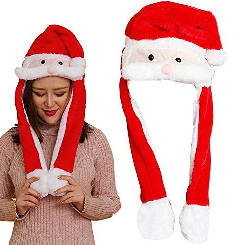 Nuluxi Hase Plüsch Weihnachten Hut Beweglicher Ohr Kaninchen Hut Bewegliche Hasenohren Hut Weihnachtsmann Niedlichen Plüsch Geschenk Airbag Hut Geeignet für Kinder und Erwachsene Verwenden Sie (Rot)