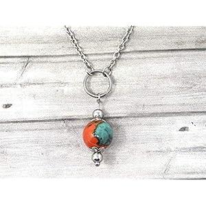 Chokerhalskette für Frauen aus Edelstahl mit Ringen und Jadeperlen in Braun, Orange und Blau