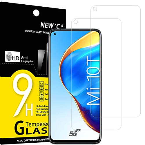 NEW'C 2 Unidades, Protector de Pantalla para Xiaomi Mi 10T 5G, Mi 10T Pro 5G, Antiarañazos, Antihuellas, Sin Burbujas, Dureza 9H, 0.33 mm Ultra Transparente, Vidrio Templado Ultra Resistente