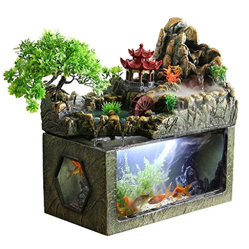Fuente de Interior Rocalla y la Corriente de agua de la fuente de Feng Shui Lucky Sala de estar Menaje Fuente Cascada Características del agua circulante regalos de agua y peces tanque decoración perf