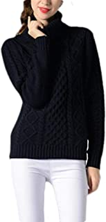 Womens Casual Turtleneck Sweater Long Sleeve Solid Cable Knitted Jumper Pullover Top