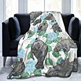 Rabbits Rode On The Manatees Blanket Lightweight Cozy Bed Blanket Soft Throw Blanket for Sofa Couch, Lap Tv Blanket Comfort Caring Gift