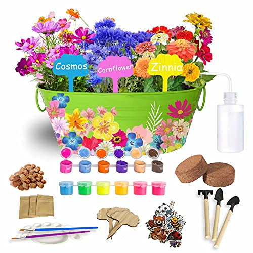 T.G.Y Flower Planting Growing Kit for Kids Gardening Plant and Paint Arts Crafts Set Girls Boys DIY Paint Tools STEM Gardening Plants 7 8 9 10-12 Year Old Gardening Science Gifts for Kids