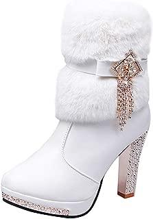 Creazrise Women's Faux Fur Bowtie&Glass Diamond Ornament Rhinestone High Heel Boots (Black,8)