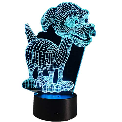 LPHMMD Nacht Licht Mooie Puppy 3D LED Lamp Baby Kamer 3D Nachtlampje Kids Bed LED Lamp Slee Nachtlampje met Ronde Touch Base Home o