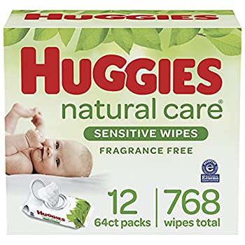 Baby Wipes Huggies Natural Care Sensitive Baby Diaper Wipes Unscented Hypoallergenic 12 Flip-Top Packs  768 Wipes Total