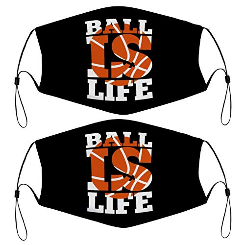 Basketball is Life Basketball Sports Kids Face Mask Set of 2 with 4 Filters Washable Reusable Adjustable Black Cloth Bandanas Scarf Neck Gaiters for Adult Men Women Fashion Designs