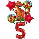 DIWULI, Gran Juego de Globos de Dinosaurios, 1x Globo Dino XXL + Globo XXL número 5 + 2X Globo de Estrella roja + 2X Globos de Papel de Aluminio Dino 5º cumpleaños, cumpleañero de niños