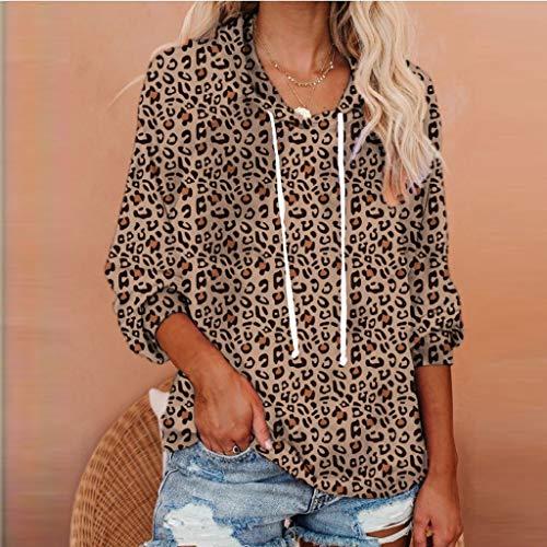 DNOQN Frauen Leopard/Tie-Dye Kordelzug Langarm Tasche Kordelzug Hoodie Tops Langarm Sweatshirt Blumen Jumper Pullover Oversize Tops