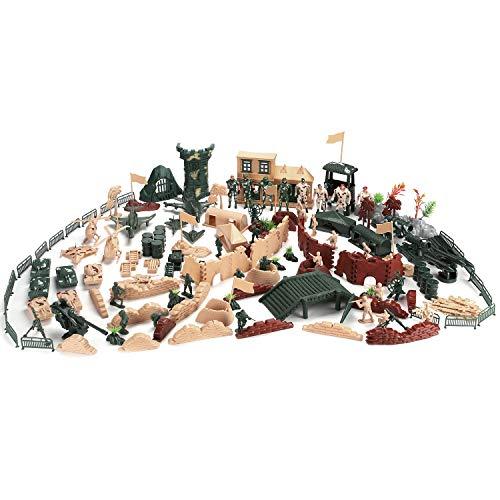 Hautton 【200 Stück Spielfiguren Set von Armee Soldaten Figuren Militär Modell Spielesets Mini-Plastik-Soldatenfiguren Spielzeug Militärspielset für Kinder Jungen