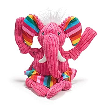 HuggleHounds Plush Corduroy Durable Squeaky Knottie Dog Toy Great Dog Toys for Aggressive Chewers  Large Rainbow Elephant