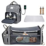 Diaper Bag Backpack,Chanarily 5 In 1 Baby Nappy Changing Station,Multifunction Travel Back Pack with USB Charging Port,Waterproof,Large Capacity,Unsex Stylish Foldable Baby Bag for Dad Mom