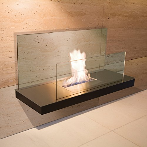 Wall Flame 2 schwarz gebürsteter Edelstahl Glas klar Ethanolkamin - 540 a