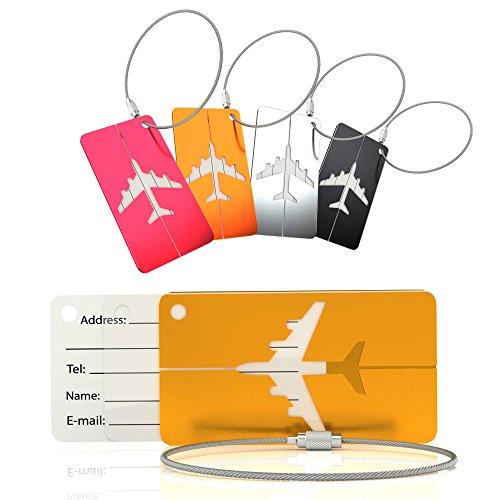 LetiStore Kofferanhänger Namensschild - Gepäckanhänger mit Metall Adressschild - Koffer Tags - Flugzeug ID Tags Im Set Bunt Aus Aluminium