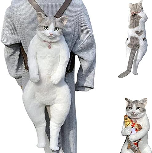 23.6' Handmade Simulation Cat Backpack Bag, 3D Simulation Plush Animal Backpack, Cat Shape Backpack, Shoulders Bag Zipper Backpack Large Storage