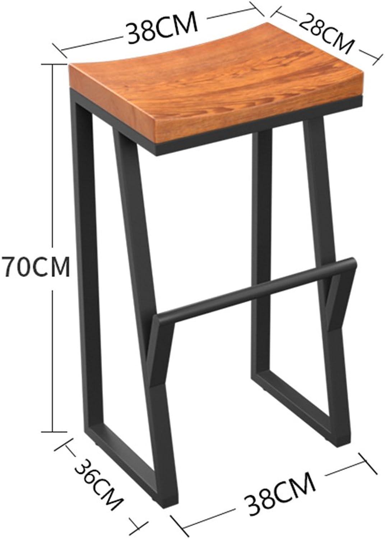 Bar Stool Iron Solid Wood Retro Size Optional High Stool Bar (Size   B)