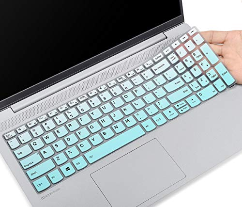 CaseBuy Keyboard Cover Skin for 2020 Lenovo Flex 5 15 15.6 / IdeaPad Flex 5 15IIL05 / Lenovo IdeaPad 5 15.6 Laptop with Numeric Keypad, Lenovo IdeaPad 15 Keyboard Protective Skin, Ombre Mint